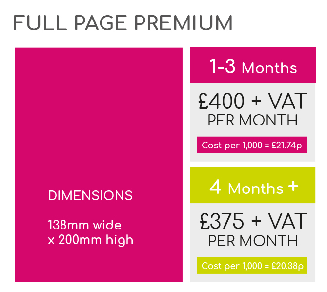 Full page premium rates and dimensions